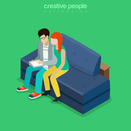 woman tablet: Flat isometric Couple sitting in living room with tablet vector illustration. 3d isometry Casual family life concept. Illustration