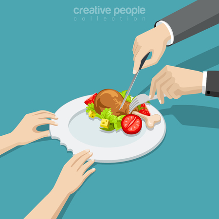 woman male: Flat isometric female hands holding ceramic bitten plate, male cutting chicken with knife and fork vector illustration. 3d isometry the full man does not understand the hungry woman concept.