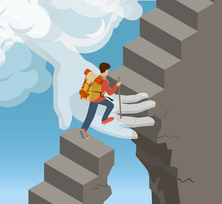 assistance: Flat isometric Hand from cloud supporting rock climber on stone ladder vector illustration. 3d isometry God help and support concept.