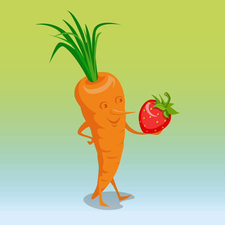 pinocchio: Flat Smiley Pinocchio Carrot holding strawberry vector illustration. 3d isometry healthy food, smoothies concept. Illustration