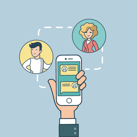 smartphone icon: Linear Flat correspondence on smartphone screen, male hand holding phone vector illustration. Man and woman characters chatting. Mobile connection, communication concept.