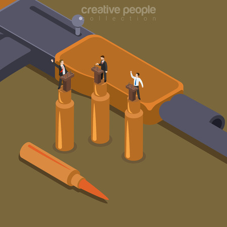 3d bullet: Flat isometric Politician standing on bullet shell, political debate on machine gun background vector illustration. 3d isometry Dirty Politics and War concept.