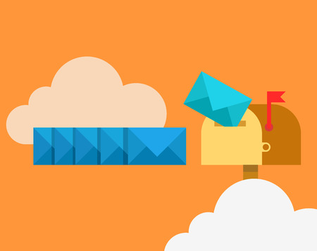 lowering: Flat blue envelopes in mail line lowering into inbox mailbox in clouds, email correspondence vector illustration. Emailing and global communication, cloud mail send service concept.