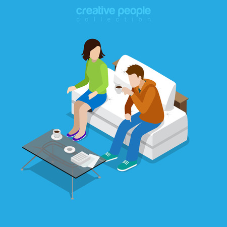 couple talking: Flat isometric Couple sitting and drinking coffee, man and woman talking in living room vector illustration. 3d isometry Casual family life concept. Illustration