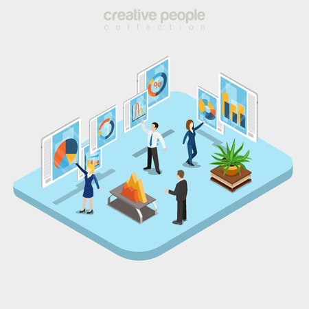 Flat isometric Modern analytics department interior, businesspeople working with touchscreen boards vector illustration. 3d isometry Online technology, Data analysis, Teamwork business concept.