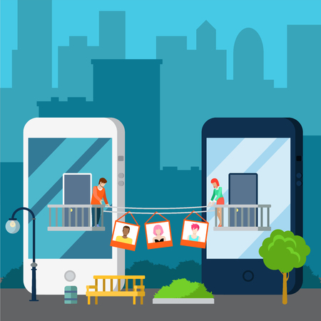 Flat isometric couple sharing photos, standing on balcony on huge smartphones buildings, cityscape background and street exterior vector illustration. 3d isometry Online dating, Virtual love concept.