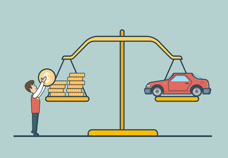 Linear Flat Dollar coins and car on scales, man putting coin to balance libra vector illustration. Property concept.