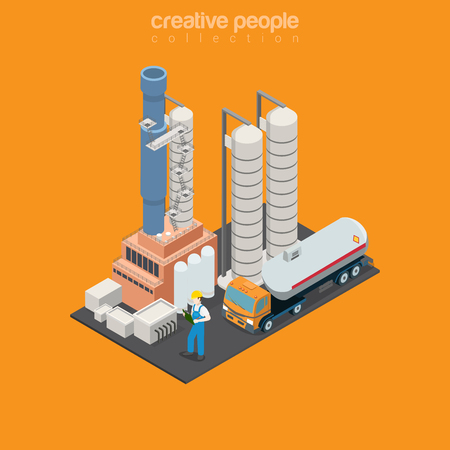 Flat isometric Storage and Transportation department of refinery station vector illustration. 3d isometry Oil refining industry concept. Illustration