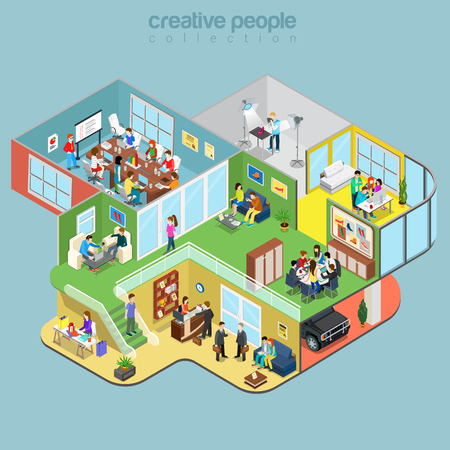 Flat isometric Creative Workshop office floors interior, company departments with staff vector illustration. 3d isometry Architecture, Teamwork concept. Director, designer, manager, client, reception.