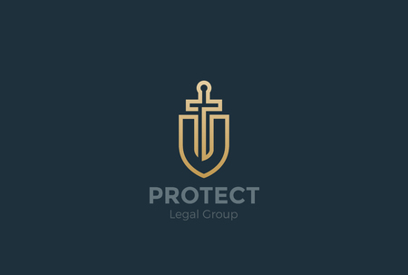 attorney: Lawyer Attorney Advocate  design vector template Linear style. Shield Sword Law Legal firm Security company . Protect defense concept icon Illustration