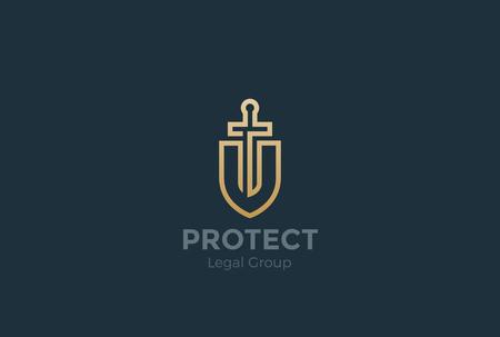 防衛: Lawyer Attorney Advocate  design vector template Linear style. Shield Sword Law Legal firm Security company . Protect defense concept icon  イラスト・ベクター素材
