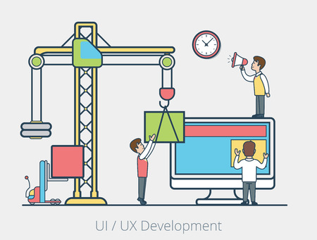 managing: Linear Flat micro people team placing blocks on monitor screen by crane, leader managing process with loudspeaker vector illustration. User interface development concept.