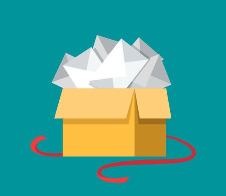 correspondencia: Caja de regalo abierto plana con letras mensaje dentro, correspondencia por correo electrónico, buzón de ilustración vectorial. Envío por correo electrónico y el concepto de comunicación global.