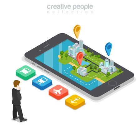 Vlakke isometrische Zakenman die juiste vervoerknoop, reusachtige smartphone met gebouwen en GEO-plaatstekens over vectorillustratie kiest. 3d isometry GPS, het concept van het stadsvervoer.