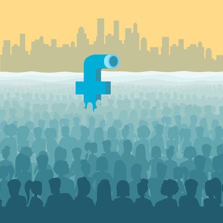 Flat isometrische Facebook eruit onderzeeër periscoop in de oceaan van menselijke silhouetten, stadsgezicht achtergrond vector illustratie. 3d isometry Social Network, Marketing concept. Stock Illustratie