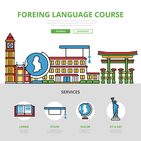polyglot: Linear flat Foreign language course infographics template and icons website hero image vector illustration. Knowledge and education concept. Illustration