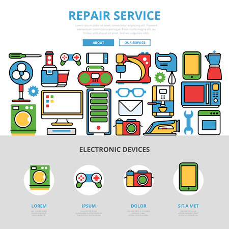 computer icons: Linear flat Repair service infographics template and icons website hero image vector illustration. Kitchen computer device concept.