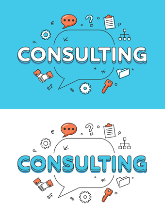metaphoric: Linear Flat CONSULTING word over chat bubble and icons website hero image vector illustration set. Business marketing concept.