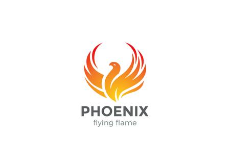 Phoenix Logo flying bird abstract design vector template. Eagle falcon soaring Logotype concept icon Vettoriali