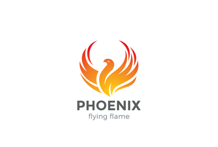 Phoenix Logo flying bird abstract design vector template.  Eagle falcon soaring Logotype concept icon