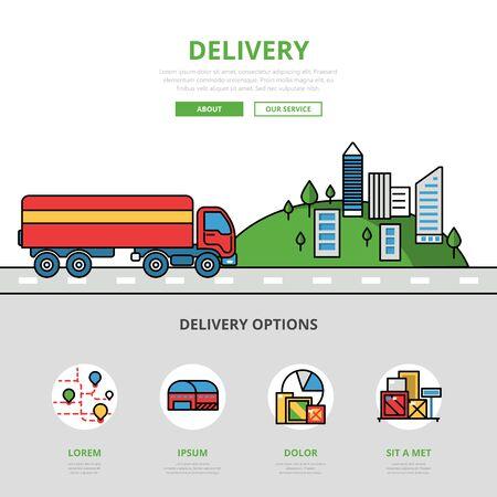 Illustrazione piana di vettore di immagine di eroe del sito Web delle icone e del modello di infographics del sito Web lineare di consegna. Concetto di trasporto di veicoli stradali