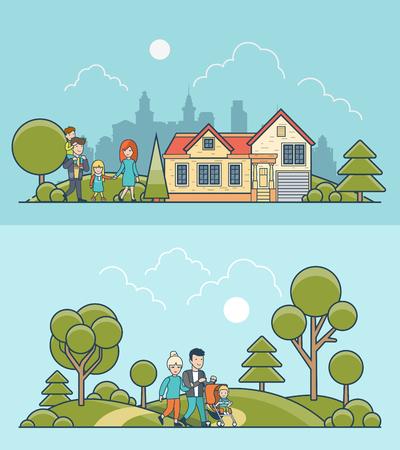 стиль жизни: Линейная Плоский семья, прогулки на природе зеленый газон луг и возле уютного дома на фоне городского пейзажа векторные иллюстрации набор. Повседневный концепция образа жизни.