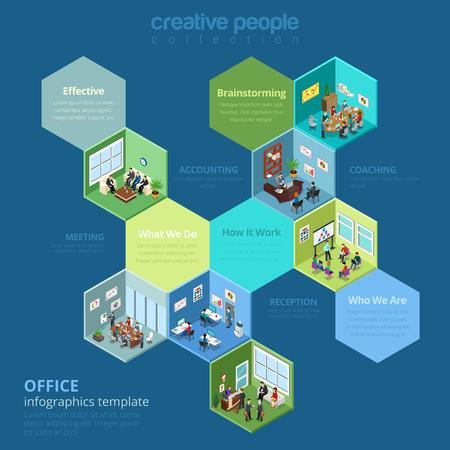 plancton: Plano isométrico Businesscenter interior ilustración vectorial. Modelo de la infografía de la compañía de negocio de la célula. 3d isometry Negocios concepto de estilo de vida de oficina. Reunión, recepción, contabilidad, gestión.