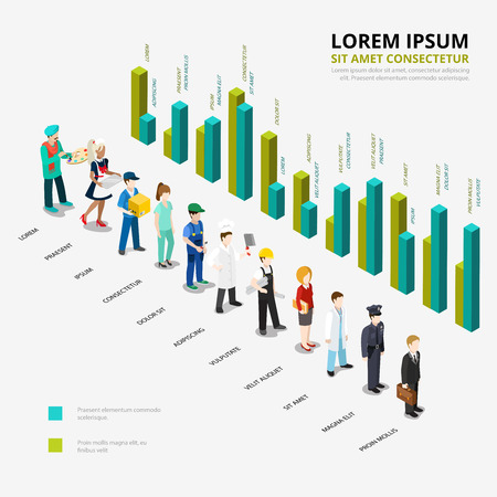 isometry: Flat isometric Male and female professional workers ratio scale and diagram infographics template vector illustration. 3d isometry business profession concept. Illustration