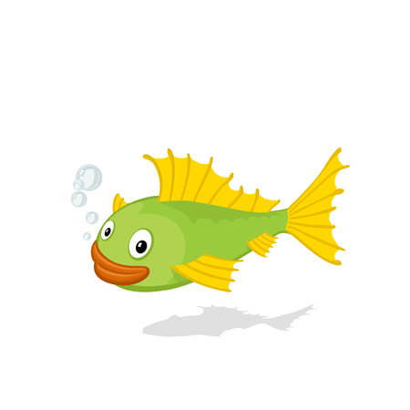 Funny cartoon ruff isolated on white background vector illustration. Zoo fish concept. Illustration