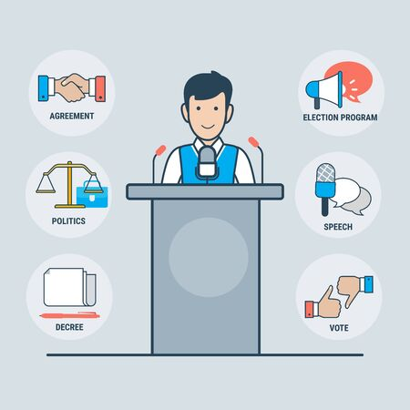 Linear Flat parliamentary or presidential male candidate over tribune vector illustration. Handshake, loudspeaker, Libra, microphone icons. Political elections concept.