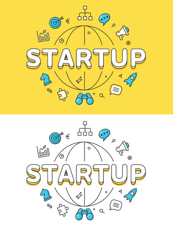 Linear Flat STARTUP word over globe and icons website hero image vector illustration set. Business success concept.