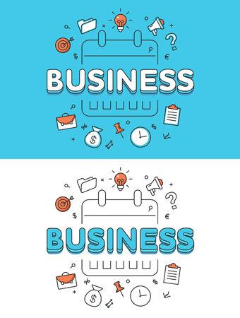 Linear Flat BUSINESS word over calendar or schedule and icons website hero image vector illustration set. Planing process concept.