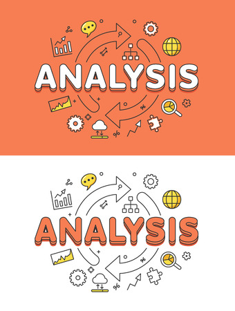 arrows circle: Linear Flat ANALYSIS word over circle arrows and icons website hero image vector illustration set. Database statistic system concept.