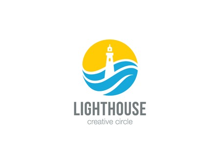 Lighthouse Logo circle abstract design vector template Negative space style Vettoriali