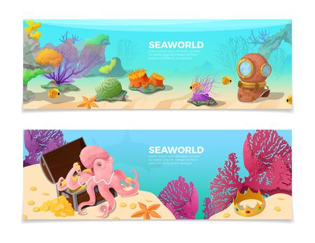 Seaworld palabra en el fondo bajo el agua ilustración vectorial conjunto. personajes corona, algas, pulpo, pescado. Tiempo para viajar, agencia de publicidad concepto.