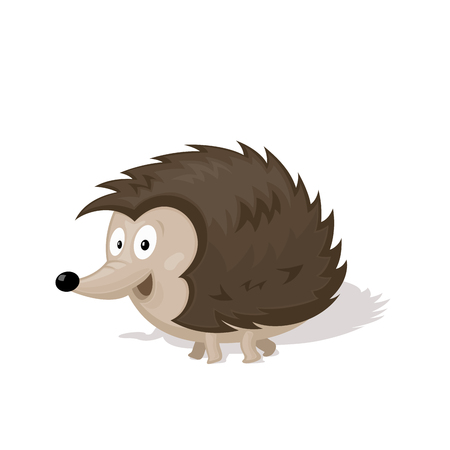urchin: Funny cartoon urchin isolated on white background vector illustration. Animal Zoo concept.