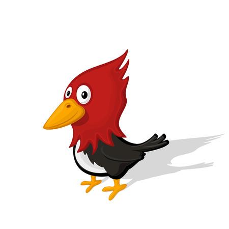 carpintero de dibujos animados divertido aislado en el fondo blanco ilustración vectorial. Animal del parque zoológico y el concepto de aves.