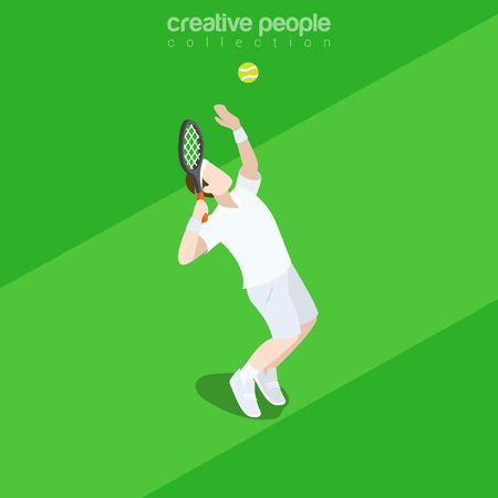 Flat isometric tennis player with racquet serve ball vector illustration. Sports 3d isometry image. Summer international competition concept. Illustration