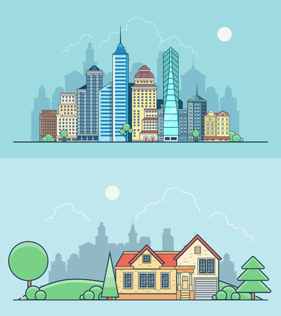 green buildings: Linear Flat Buildings, skyscrapers, business center, offices and house on green lawn meadow background vector illustration set. Real estate concept.