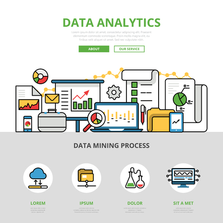 mining: Linear flat Data analytics website infographics template and icons website hero image vector illustration. Report and analysis business concept.