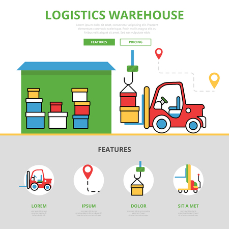 printed machine: Linear flat Logistic warehouse infographics template and icons website hero image vector illustration. Delivery storage and loading service concept.