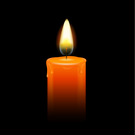 Burning candle with melted wax on a black background vector illustration. Mourning, memory concept.