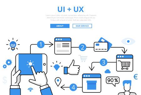Lineaire platte UI + UX infographics sjabloon en pictogrammen website held afbeelding vectorillustratie. Online winkelconcept. Stock Illustratie