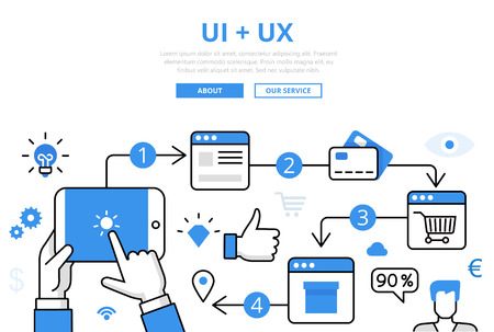 Linear flat UI + UX infographics template and icons website hero image vector illustration. Online store concept. Çizim