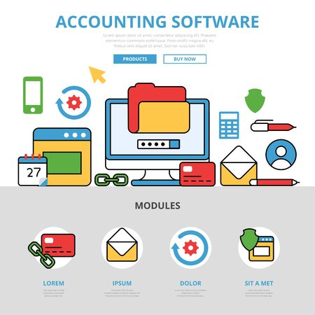 acquiring: Linear flat Accounting software infographics template and icons website hero image vector illustration. App application concept.