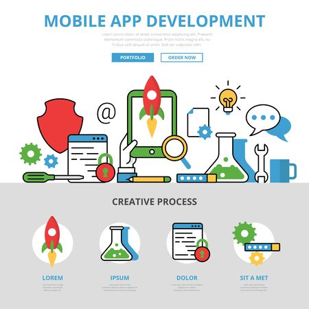 debug: Linear flat mobile app development infographics template and icons website hero image vector illustration. Programming technology concept.