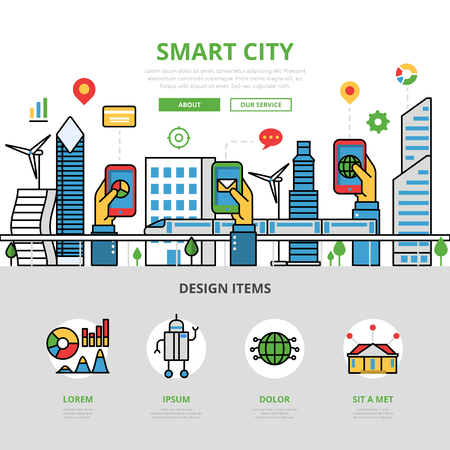 mobile website: Linear flat Smart city app infographics template and icons website hero image vector illustration. Mobile application concept.