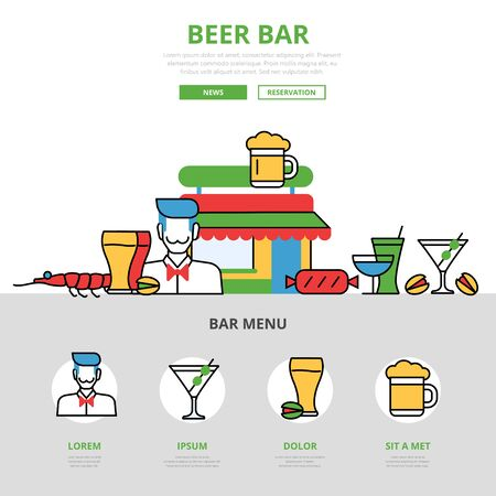 shrimp cocktail: Linear flat Beer bar infographics template and icons website hero image vector illustration. Food and beverages, pub and restaurant concept. Illustration