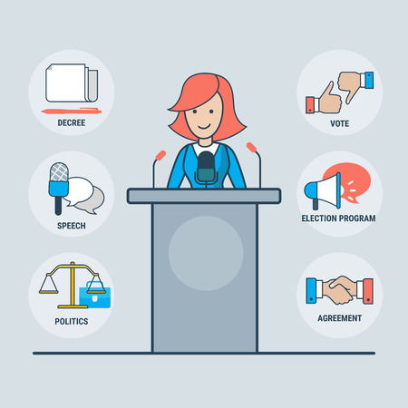 political: Linear Flat parliamentary or presidential female candidate over tribune vector illustration. Handshake, loudspeaker, Libra, microphone icons. Political elections concept.