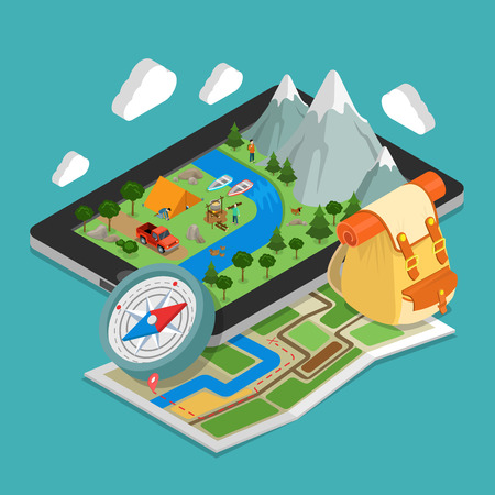 Flat isometric huge smartphone, nature landscape and camping vector illustration. GEO location infographics template. 3d isometry mobile GPS navigation concept. Paper map, backpack, compass.